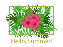Hello summer vector illustration. Beautiful tropical flowers Royalty Free Stock Photo