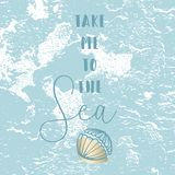 Hello Summer Vector Illustration. Hand Drawn cartoon doodle vector illustration with sea decoration elements and text Take me to the Sea on pastel blue brush Royalty Free Stock Photography