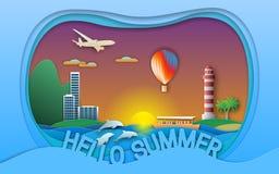 Hello summer vector illustration in paper cut style. Sunset, resort town, boat, lighthouse, balloon, islands, dolphins, aircraft. Hello summer vector vector illustration