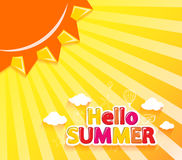 Hello Summer Vector Illustration with Sun and Summer Icons Royalty Free Stock Photos