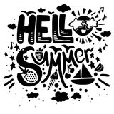 Hello summer vector poster. Brush lettering with symbols and black quote isolated on white background for beginning summer or holiday or travel royalty free illustration