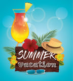 Hello summer vector poster Royalty Free Stock Images