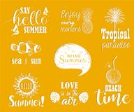 Hello summer vector set. Collection of hand lettering with summer phrases and sketches Royalty Free Stock Photo
