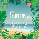 Hello summer. Vector summer illustration hand lettering. The leaves of palm trees and tropical flowers on a background of the sea Stock Image