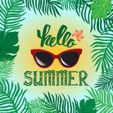 Hello summer. Vector summer illustration hand lettering. The leaves of palm trees and tropical flowers on a background of the sea Royalty Free Stock Image