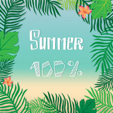 Hello summer. Vector summer illustration hand lettering. The leaves of palm trees and tropical flowers on a background of the sea Royalty Free Stock Photos