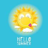 Hello Summer. vector summer smiling sun Royalty Free Stock Image