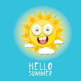 Hello Summer. vector summer smiling sun Stock Photos