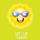 Hello Summer. vector summer smiling sun Royalty Free Stock Photo