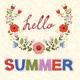Hello summer vector typography on floral Stock Photos