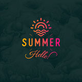 Hello Summer vector vintage retro logotype ob black background with sea or ocean waves Unusual hipster print. Illustration EPS10. Orange-pink logo template of stock illustration