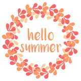 Hello summer vector wreath isolated on white Stock Image