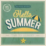 Hello summer. Vintage card Hello summer. VEctor Illustration Royalty Free Stock Photo