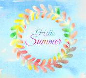 Hello Summer watercolor Stock Image