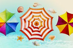 Hello summer watercolor painting colorful umbrella. royalty free illustration