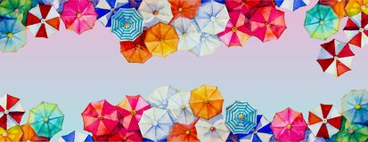 Hello summer watercolor painting colorful umbrella royalty free illustration