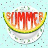 Hello summer. watermelon on a plate illustration Royalty Free Stock Photography