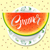 Hello summer. watermelon on a plate illustration Stock Images