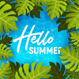 Hello summer web banner background. Sea or pool with palm. Hello Summer Holiday party beach template backdrop. Vector illustration Stock Photography