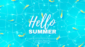 Hello summer web banner wit fish. Blue background on the sea topic. Vector illustration. Hello Summer Holiday backdrop Royalty Free Stock Images