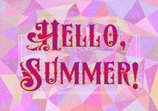 Hello Summer. Welcoming card in harlequin style Royalty Free Stock Photo