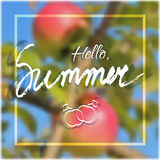 Hello summer. Welcoming card with lettering Stock Images