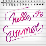 Hello summer. Welcoming memo card with lettering Stock Image