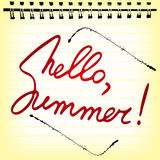 Hello summer. Welcoming memo card with lettering Stock Images