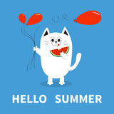 Hello summer. White cat holding red balloon, watermelon. Cute cartoon character. Greeting card. Funny pet animal collection. Flat Stock Images