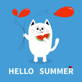 Hello summer. White cat holding red balloon, watermelon. Ladybug insect. Cute cartoon character. Greeting card. Funny pet animal c. Ollection. Flat design. Blue Royalty Free Stock Photos