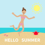 Hello summer. Woman wearing swimsuit jumping.  Sun, beach, sea, ocean, crab. Happy girl jump. Cartoon laughing character in pink  Royalty Free Stock Image