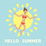 Hello summer. Woman wearing swimsuit jumping.  Sun shining icon. Happy girl jump. Cartoon laughing character in red swimming suit. Royalty Free Stock Photo