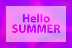 Hello summer words on a bright violet background. stock illustration