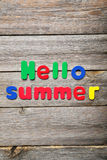 Hello summer words Stock Photography