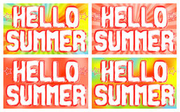 Hello Summer words on the poster. Bright background with radiating rays. Vector illustration Royalty Free Stock Photo