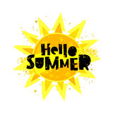 Hello summer. Yellow sun Stock Image