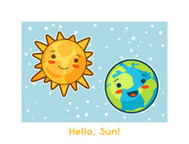 Hello, Sun. Kawaii space funny card. Doodles with pretty facial expression. Illustration of cartoon sun and earth Stock Image