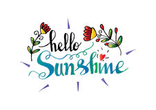 Hello sunshine. Hand lettering calligraphy vector illustration