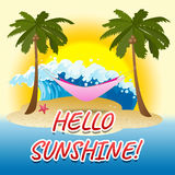 Hello Sunshine Indicates Summer Time And Beach Stock Image