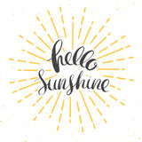 Hello sunshine poster. Hello sunshine vector card with vintage sunburst and hand drawn lettering stock illustration