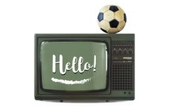 Hello Old tv ball white background stock images