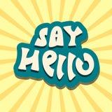 Hello text handwritten retro vector Stock Image