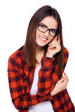 Hello there!. Smiling young woman with glasses over white background Stock Images