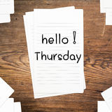 Hello Thursday on paper Stock Photo