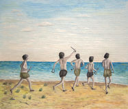 Hello to the sea. Illustration in oils of  five young excited  characters in swimming shorts running along a yellow sandy beach towards the blue sea Royalty Free Stock Photo