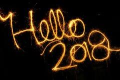 Hello tomtebloss 2018 på en svart bakgrund Fotografering för Bildbyråer