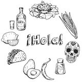 Hello! Travel to Mexico Food Culture Drink Cuisine Hand draw vector icons Stock Image