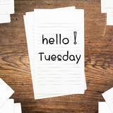 Hello Tuesday on paper Royalty Free Stock Photography