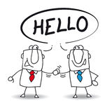 Hello. Two businessmen say hello. They will do a deal royalty free illustration