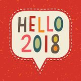 Hello 2018 typographic new year card vintage on red. Retro style typographic New Year card or poster design in retro colors on red background, Hello 2018. For royalty free illustration